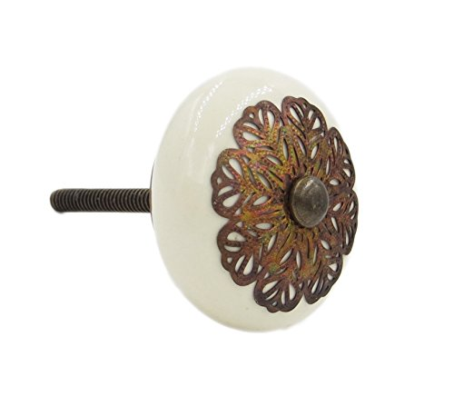 Cream Strewn Flat Ceramic Knob Pull for Dresser, Desks, Hutches, Drawers, Cabinets or - Hutch Cream