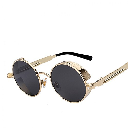 f124a263c9f DALUCI Fashion Round Vintage Sunglasses Steampunk Man Lady Unisex sunglass  for Men Women (Gold Frame Black lens)  Amazon.in  Clothing   Accessories