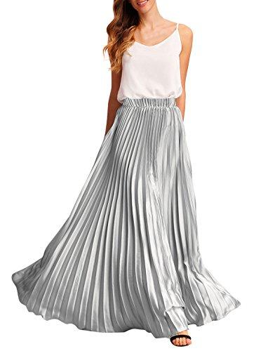 Long Skirt Unlined Skirt (Romwe Women's Pleated Maxi Skirt Elastic Waist Summer Pleat Long Party Skirt Silver M)