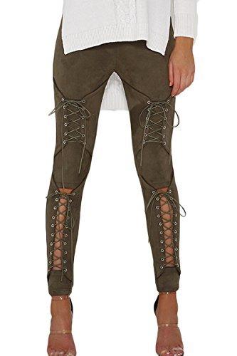 Sunfury Womens Fall Faux Leather Elasticized Waist Full Length Leggings Pencil Pants Army Green M