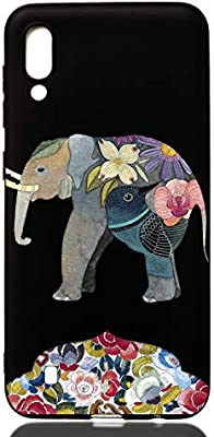 Bling 3D TPU Compatible with Samsung A80,Non Slip Thin Soft Silicone Ultra Clear Transparent Gel Rubber Frame Colorful Flexible Bumper Flower Animal Cartoon Pattern