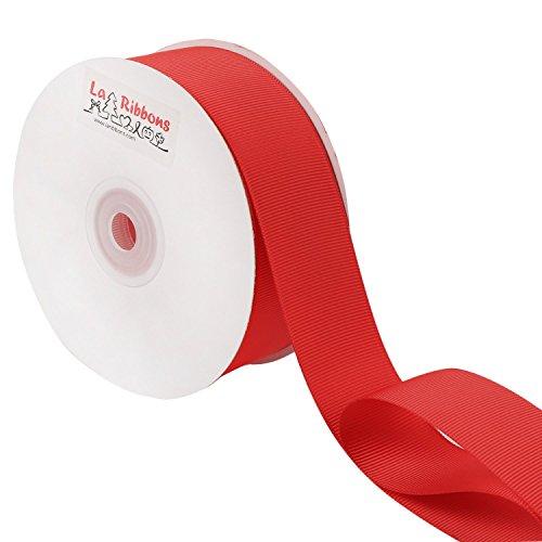 Laribbons 1-1/2 Inch Wide Grosgrain Ribbon-25 Yard 1.5, Red (Grosgrain Red Fabric Ribbon)