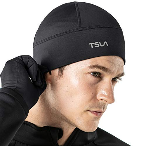 TSLA Unisex Skull Cap Thermal Fleece Line Active Beanie Helmet Liner, Single 1pack(yzc01) - Black, One Size Fits All