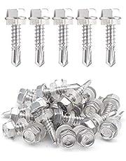 "IMScrews 25pcs #12 x 1"" Stainless Hex Washer Head Self Drilling Screws, 410 Stainless Steel Full Thread Sheet Metal Tek Screws"