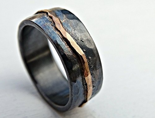 (hammered gold wedding band black silver, man wedding band, organic wave ring gold, viking wedding ring forged, celtic promise band, cool mens)
