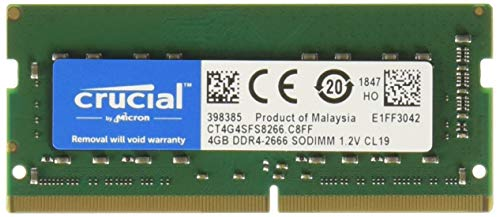 Crucial 4GB DDR4 SDRAM Memory Module - 4 GB - DDR4 SDRAM - 2666 MHz DDR4-2666/PC4-21300 - 1.20 V - Non-ECC - Unbuffered - 260-Pin - SODIMM