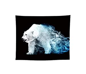 Melory Black&White Animal Portrait Tapestry Polar-Bear Wall Hanging Realistic Rug Tablecloths Bedspread Decor for Dorm Bedding Room Pattern5 58.3 inch x 51.2 inch