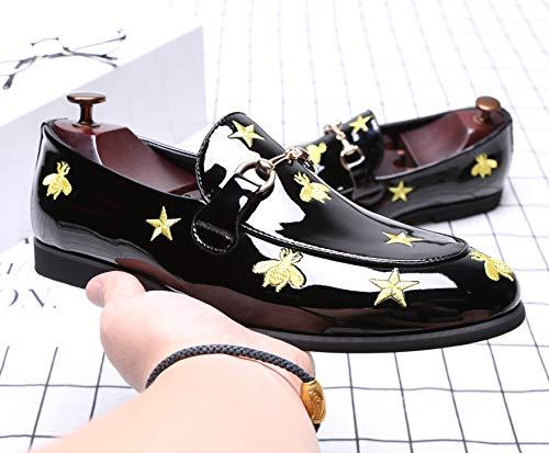 de Zapatos Zapatos Plana de en los los de Hombres NXY de Charol Holgazanes Ocasionales del los Zapatos Barco conducción dI7fWq