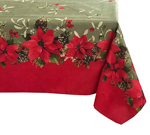 Newbridge Peaceful Poinsettia Green Border Christmas Fabric Tablecloth, Double Border Holly Xmas Print Cloth Tablecloth, 60 Inch x 144 Inch Oblong/Rectangle