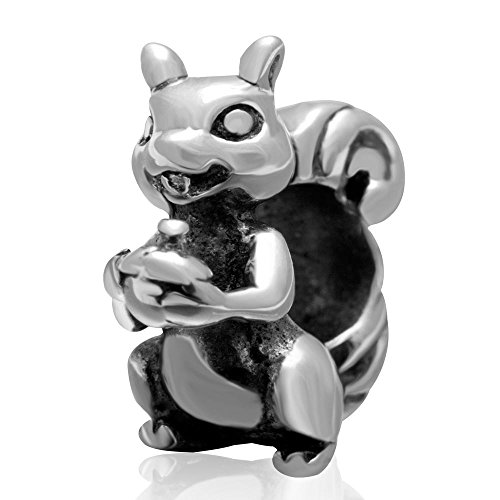 Lucky Animals Head Charm Authentic 925 Sterling Silver Pet Charms for European Bracelet (That Squirrel)