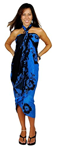 893411983d 1 World Sarongs Womens Hibiscus Flower Floral Cover-Up Sarong Blue Black Hi
