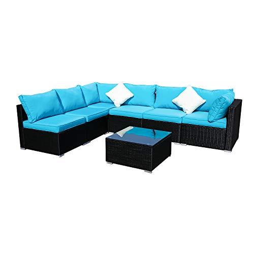 KOOLWOOM Outdoor Patio Furniture Set,Sectional Wicker Sofa Washable Waterproof PE Cushions,Backyard,Pool (7, Blue) (Lift Outdoor Furniture)