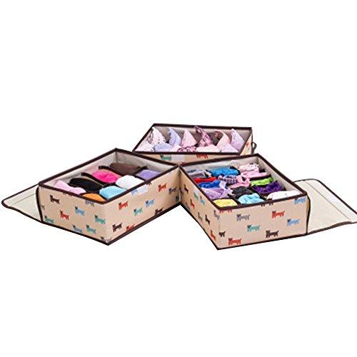 PAWACA plegable caja de almacenamiento bufanda toallas divisor de cajón organizador del armario de ropa interior a prueba de polvo kit de acolchado ...