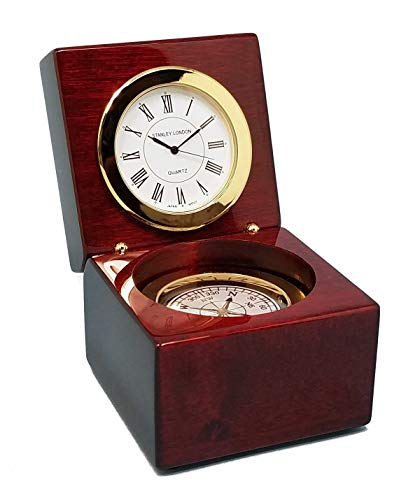 - Stanley London Piano Finished Mahogany Desk Clock with Magnetic Compass