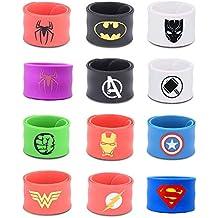 Rising Gear Superhero Slap Bracelets for Kids Boys & Girls Birthday Party Supplies Favors Wristband Accessories Wrist Strap (12 Pack)