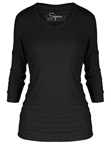 Long Sleeve Boatneck Top (Sejora 3/4 Long Sleeve Dolman Tunic Top Batwing Shirt – Many Colors & Sizes (Large, Black))
