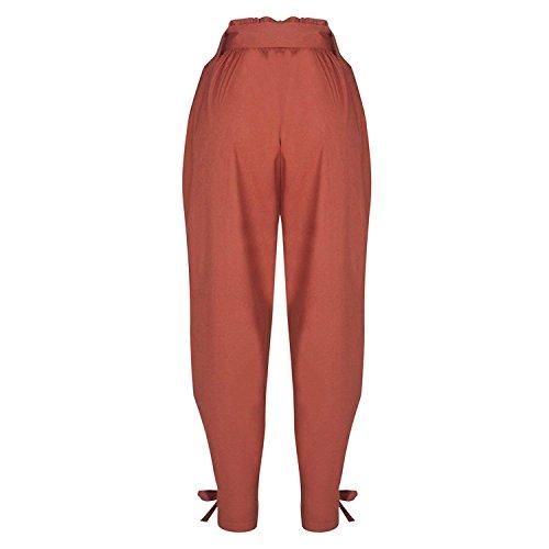 Alta Lunga Di Donna Tempo Slim A Vita Moda Pantaloni Braun Accogliente Primaverile Inclusa Cravatta Autunno Libero Fit Moda Grazioso Pieghe Cintura Pants Monocromo Pantaloni Bendare Pantaloni Farfalla BdRSqwS