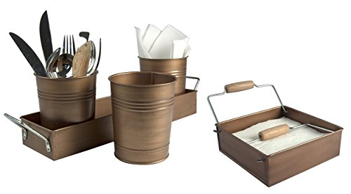 Artland Partyware Metal Napkin Holder and Picnic Caddy Set - Antique Copper Finish - Ideal for Outdoor Events