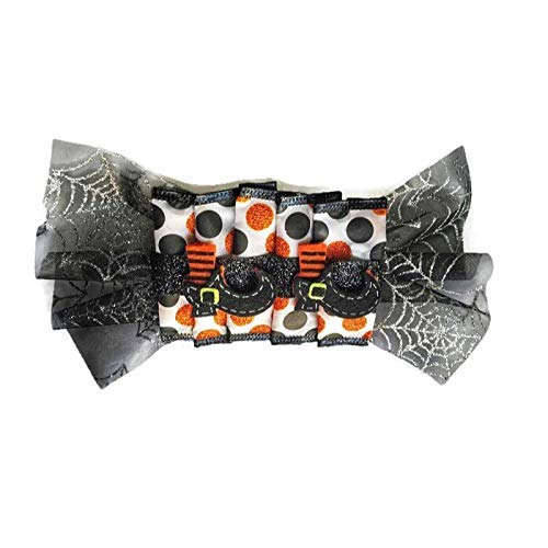 (Halloween Costume Hair Bow, Black Orange Polka Dot Hair Clip, Witches Shoes Barrette, Spider Web Hair Clip, Hair Clip for Girls, Custom Gift)