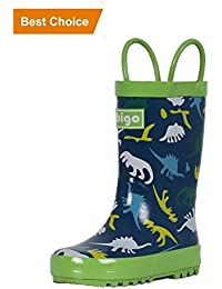 Kids Natural Rubber Rain Boots with Handles Easy for Little Children & Toddler Boys Girls, Animal Pattern