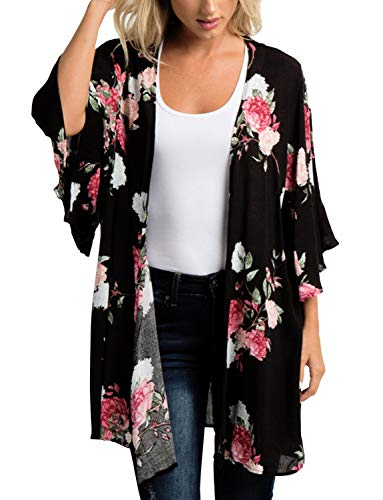 (Women's Kimono Cardigan Boho Style Beach Open Cover Up Tops Casual Loose Tops Wraps)