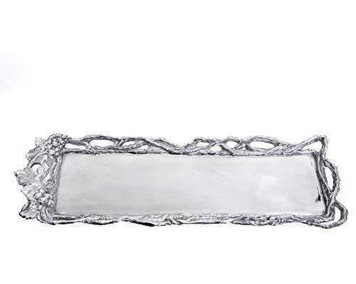 (Arthur Court Designs Aluminum Grape Open Vine Oblong Tray 18