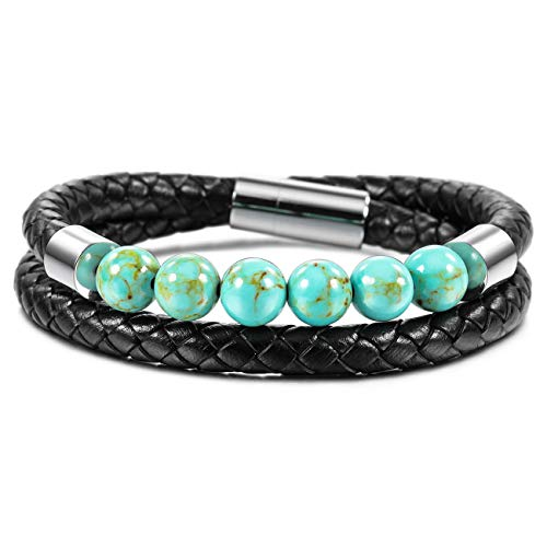 MOWOM Silver Tone Black 8mm Stainless Steel Genuine Leather Energy Bracelet Simulated Green Turquoise Magnetic Clasp 2 Wrap