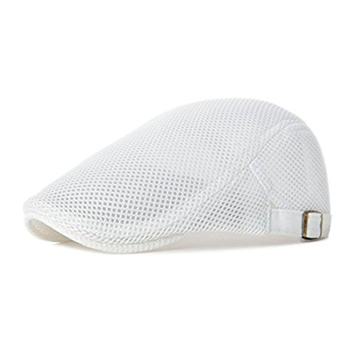 King Star Men Breathable Mesh Summer Hat Newsboy Beret Ivy Cap Cabbie Flat Cap White