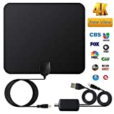 YXTHON HD Digital TV Antenna with Amplifier Indoor 60-100 Miles Range Support 4K 1080P-18ft Coax Cable/USB Power Adapter