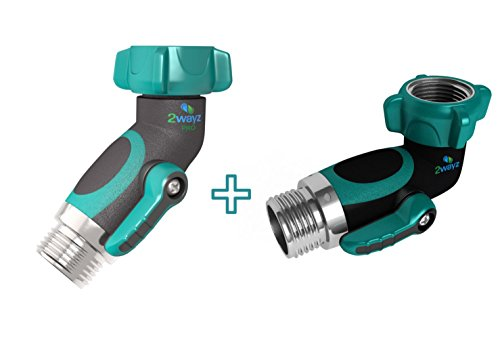 Grip Elbow - 2wayz All Metal Body 45° Hose Elbow + 90° Hose Elbow Bundle. Newly Upgraded (2017): 100% Secured, Bolted & Threaded. Easy Grip, Smooth Long Handles Garden Hose y valve. Bonus included: 10 Washers.