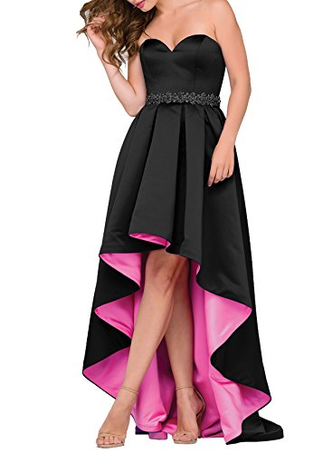 Women's Beaded Satin High Low Prom Dresses Asymmetrical Strapless Formal Homecoming Gowns (Black,2) (Asymmetrical Satin)