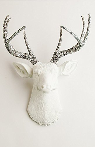 Glitter Deer Head Wall Mount - The Weston   White Deer Head with Silver Glitter Antlers   Deer Resin Decorations   Faux Taxidermy Animal Heads By White Faux Taxidermy (Head Decoration)