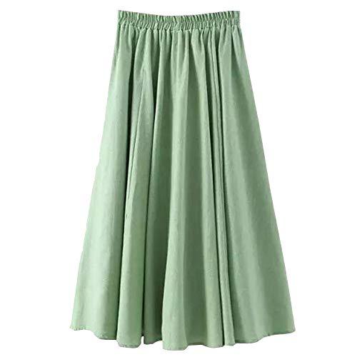 Haute Unie Femme sur Couleur C Pleated Le T Vintage Occasionnels De Jupe Vert Jupes 5qBqR