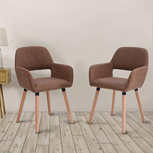 Sophia William Dining Chairs Set of 4 Modern Living Room Chair Mid Century Accent Chairs with Water-Resistant Nubuck Leather Solid Wood Legs Leisure Chairs for Kitchen Home Furniture