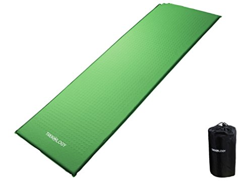 Trekology Self Inflating Camping Sleeping Mat in Air Pump Dry Sack Bag - Compact Lightweight Camp Sleep Pad, Inflatable Roll Up Foam Bed as Tent Pads, Hammock Mats (Green (Old Design))