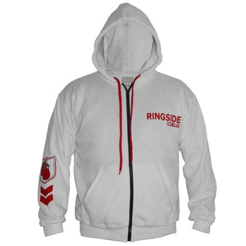 Boxer Adult Hooded Sweatshirt (Ringside Industry Domination Hoodie, White/Red, Large)