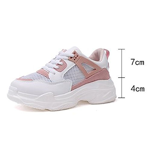 NGRDX&G Baskets Femme Casual Dames Chaussures De Sport Respirant Chaussures Plate-Forme Chaussures De Sport Blanc Rose Taille 35-40 8
