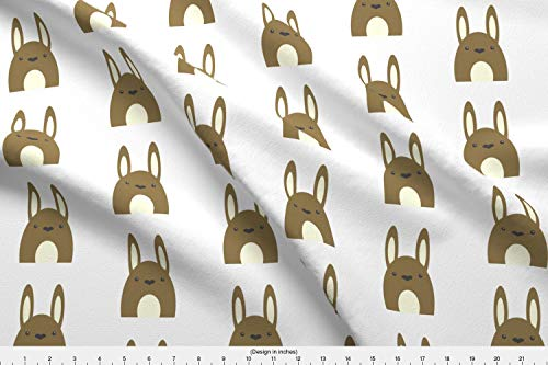 Spoonflower Woodland Bunny Rabbit Fabric - Woodland Bunny Rabbit Cute Forest Creature Little Bunny Foo Foo Fuzzy Bunny - by Shortcake Studio Printed on Cotton Spandex Jersey Fabric by The Yard (Shorts Spandex Woodland)