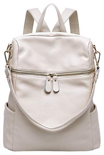 BOYATU Convertible Genuine Leather Backpack Purse for Women Fashion Travel Bag (Off White)