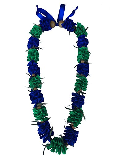 Hawaiian Ribbon Lei, Blue and Green-Ilima 32 Inch by Hawaii UWT