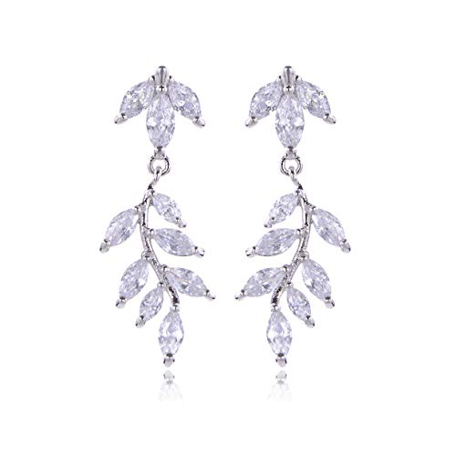 (Cubic Zirconia Wedding Earrings Women's 14K White Gold Plated Sterling Silver Crystal CZ Rhinestone Cluster Floral Leaf Marquise Elegant Chandelier Earrings for Bride Bridesmaids Party Prom)