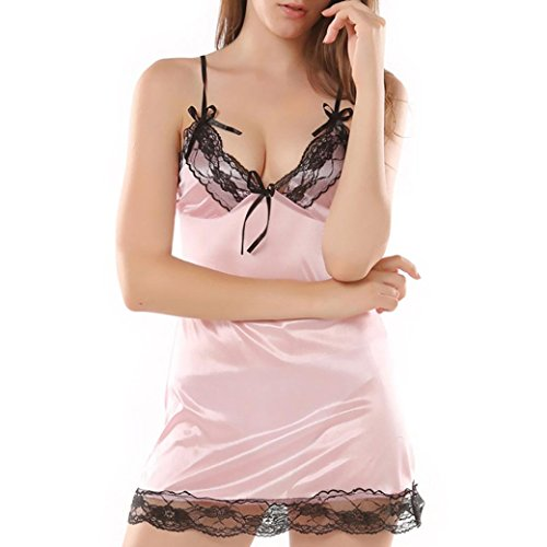 ManxiVoo Women's Lace Sexy Underwear Plus Size Nightdress Sling Silk Intimates for Sexual Life of Couples (M, Pink)