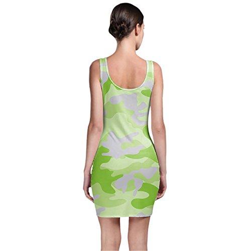 Camuflaje verde brillante Bodycon vestido XS-3X L sin mangas elástico corto vestido