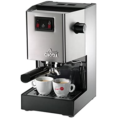 Gaggia Classic Semi-Automatic Espresso Maker. Pannarello Wand for Latte and Cappuccino Frothing. Brews for Both Single and Double Shots.