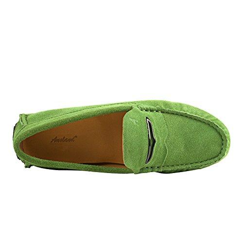 Shenduo Damen Mokassin Leder Schuhe mit Metallschnallen Casual Slipper Sommer Schuhe D9123 Grün