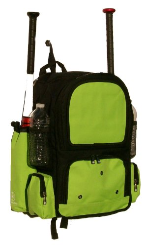 Black and Lime Green Chita CY Youth Softball Baseball Bat Equipment Backpack BKLGCY by MAXOPS