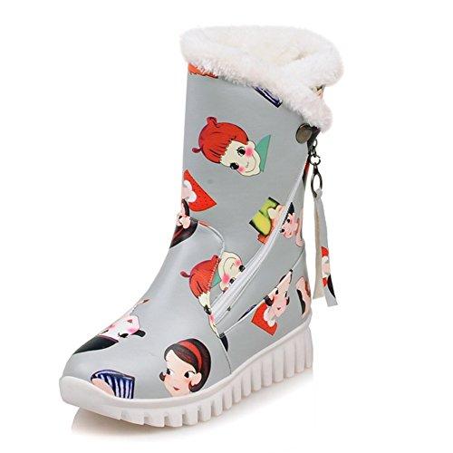 Decostain Comfort Winter Snow Warm Soft Mid Calf Faux-Fur Cartoon Boots Grey nR6PsJp