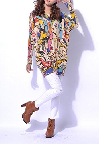 ELLAZHU Mujeres Abstracto Pintura jersey de punto SZ38 Un tamaño Gris Beige