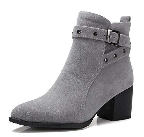 Aisun Womens Trendy Studded Pointed Toe Buckle Strap Stacked Medium Heels Booties Shoes Gray