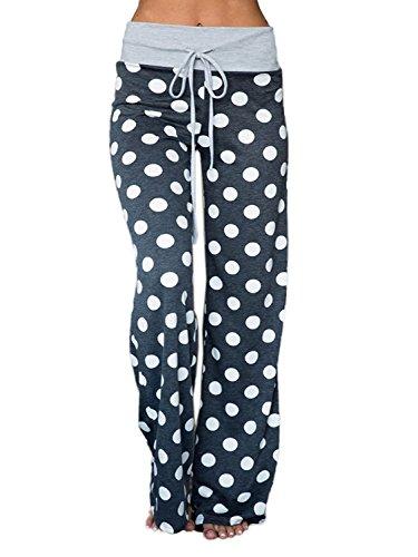 AMiERY Womens Comfy Stretch Polka Dot Casual Pajamas Bottom Palazzo Lounge Pants (Tas L(US 12), Blue-Grey) (Best Lounge Pants Ever)